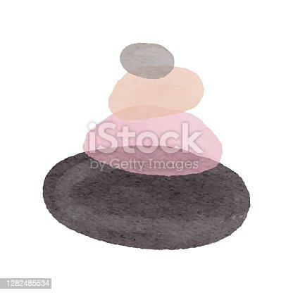 istock Abstract watercolor vector logo of stones. Icon wellness and spa. Creative minimalist hand painted illustration for wellness, spa, Thai massage. Design template logo with symbol natural stones. 1282485534