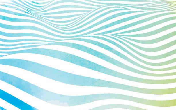 ilustraciones, imágenes clip art, dibujos animados e iconos de stock de rayas de onda de acuarela abstractas - summer background