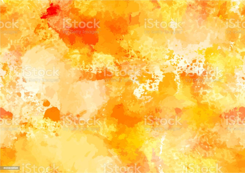 Abstract watercolour autumn background with yellow brush strokes vector art illustration