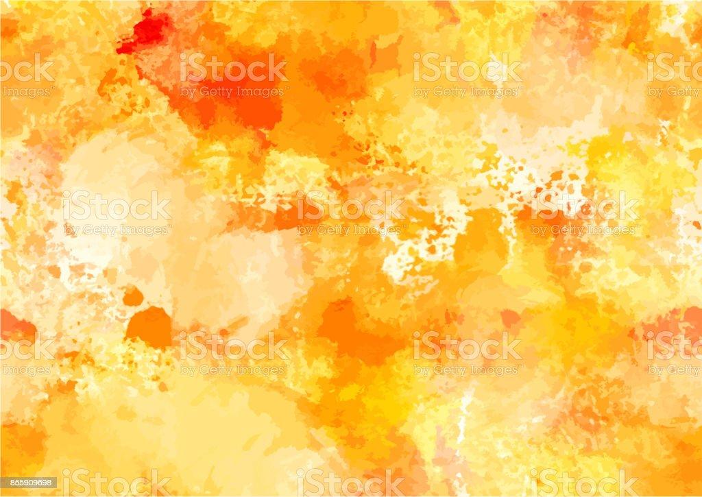 黄色のブラシ ストロークで抽象的な水彩秋背景 ベクターアートイラスト
