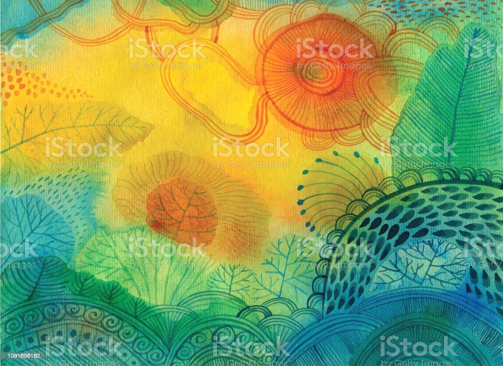 Fond abstrait aquarelle - clipart vectoriel de Abstrait libre de droits