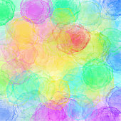 Abstract Watercolour Background with Bright Color Brush Strokes. Border of hues of red paint splashing droplets. Watercolor strokes design element. Rainbow colored hand painted abstract texture.