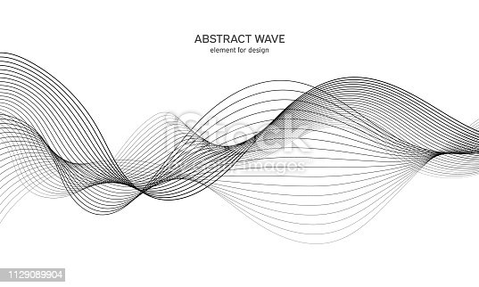 Digital frequency track equalizer. Stylized line art background. Vector illustration. Wave with lines created using blend tool. Curved wavy line, smooth stripe