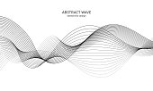 istock Abstract wave element for design. Digital frequency track equalizer. Stylized line art background. Vector illustration. Wave with lines created using blend tool. Curved wavy line, smooth stripe. 1129089904
