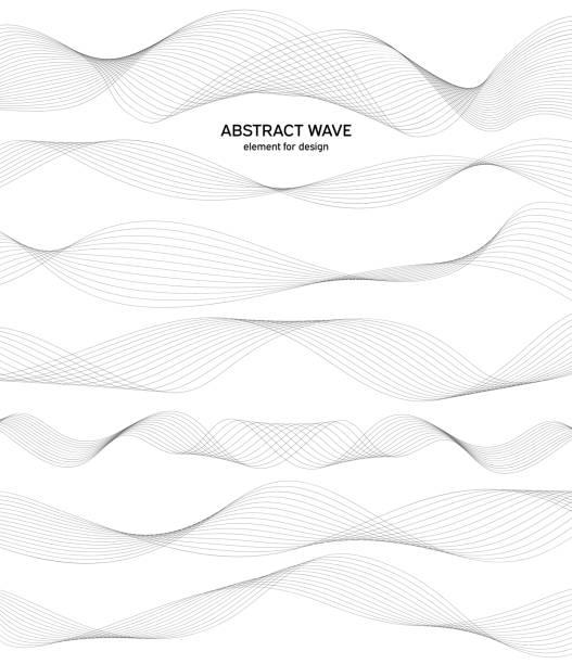 abstrakcyjny element fali do projektowania. cyfrowy korektor ścieżki częstotliwości. stylizowane tło grafiki liniowej. wektor. fala z liniami utworzonymi za pomocą narzędzia mieszania. zakrzywiona falista linia, gładki pasek. - linia stock illustrations