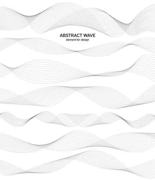 abstract wave element for design. digital frequency track equalizer. stylized line art background. vector. wave with lines created using blend tool. curved wavy line, smooth stripe. - wave pattern stock illustrations