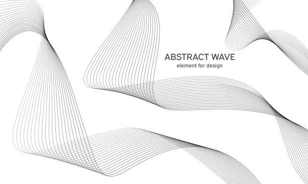 bildbanksillustrationer, clip art samt tecknat material och ikoner med abstrakt våg element för design. digital frekvens spår equalizer. stiliserad linje konst bakgrund. vektor. wave med linjer som skapats med blend tool. böjd vågformad linje, slät rand. - kö