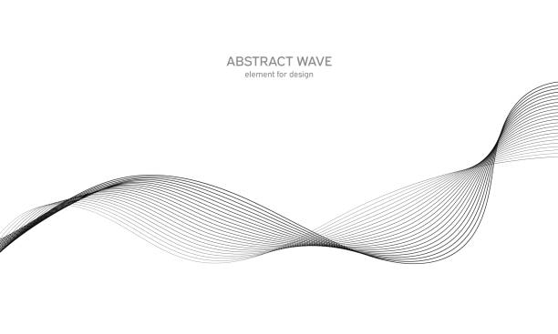 Abstract wave element for design. Digital frequency track equalizer. Stylized line art background. Vector illustration. Wave with lines created using blend tool. Curved wavy line, smooth stripe. Digital frequency track equalizer. Stylized line art background. Vector illustration. Wave with lines created using blend tool. Curved wavy line, smooth stripe linhas stock illustrations