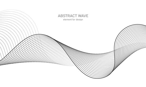 bildbanksillustrationer, clip art samt tecknat material och ikoner med abstrakt våg element för design. equalizer för digital frekvens spår. stiliserad linje konst bakgrund. vektor illustration. vinka med linjer som skapats med blandnings verktyget. böjd vågformad linje, slät rand. - kö