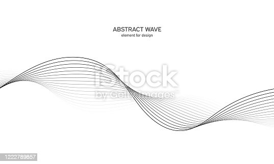 istock Abstract wave element for design. Digital frequency track equalizer. Stylized line art background. Vector illustration. Wave with lines created using blend tool. Curved wavy line, smooth stripe. 1222789857