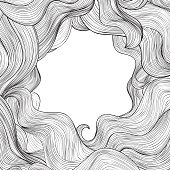 Abstract wave frame background Hair outline background.