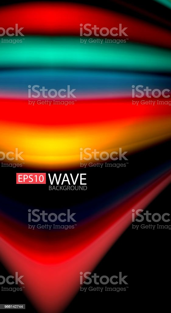 Abstract wave lines fluid rainbow style color stripes on black background. Artistic illustration for presentation, app wallpaper, banner or poster - Векторная графика Абстрактный роялти-фри