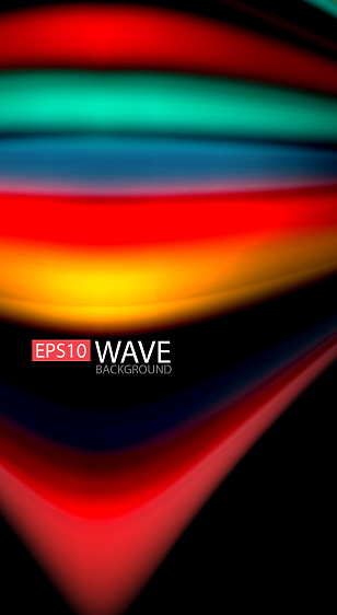 Abstract Wave Lines Fluid Rainbow Style Color Stripes On Black Background Artistic Illustration For Presentation App Wallpaper Banner Or Poster — стоковая векторная графика и другие изображения на тему Абстрактный