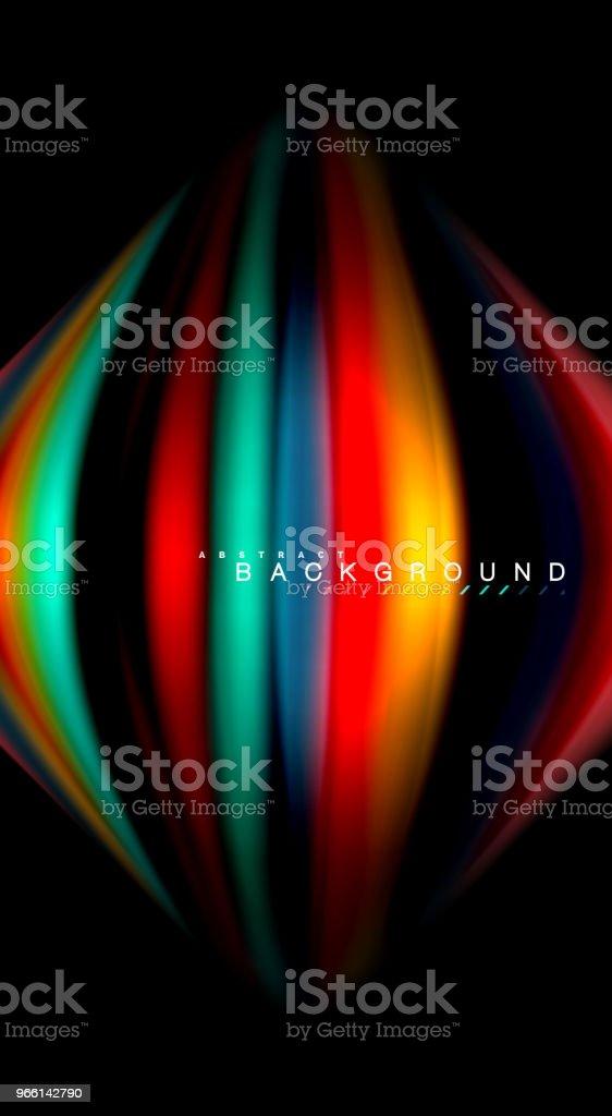 Abstrakt våg linjer vätska rainbow stil färg ränder på svart bakgrund. Konstnärliga illustration för presentation, app tapeter, banderoll eller affisch - Royaltyfri Abstrakt vektorgrafik