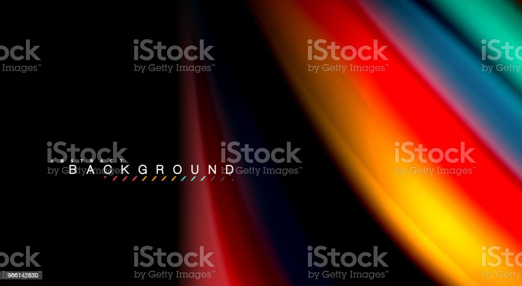 Abstract wave lines fluid rainbow style color stripes on black background. Artistic illustration for presentation, app wallpaper, banner or poster - arte vettoriale royalty-free di Alla moda