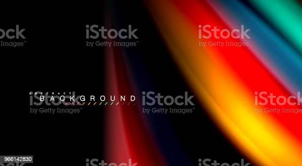 Abstrakt Våg Linjer Vätska Rainbow Stil Färg Ränder På Svart Bakgrund Konstnärliga Illustration För Presentation App Tapeter Banderoll Eller Affisch-vektorgrafik och fler bilder på Abstrakt