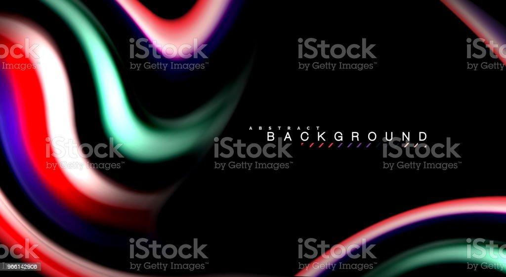 Abstract golven lijnen vloeistof regenboog stijl kleur strepen op zwarte achtergrond. Artistieke illustratie voor presentatie, app behang, spandoek of poster - Royalty-free Abstract vectorkunst
