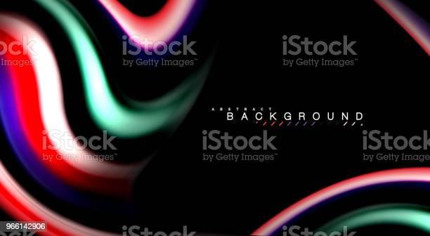 Abstract Golven Lijnen Vloeistof Regenboog Stijl Kleur Strepen Op Zwarte Achtergrond Artistieke Illustratie Voor Presentatie App Behang Spandoek Of Poster Stockvectorkunst en meer beelden van Abstract