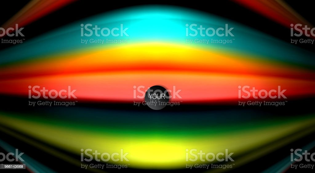 Abstract wave lines fluid rainbow style color stripes on black background. Artistic illustration for presentation, app wallpaper, banner or poster - Royalty-free Abstract stock vector