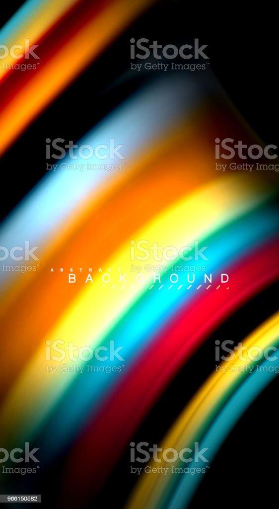 Abstrakte Welle Linien flüssige Regenbogen Stil Farbe Streifen auf schwarzem Hintergrund. Künstlerische Illustration für Präsentation, app Wallpaper, Banner oder poster - Lizenzfrei Abstrakt Vektorgrafik