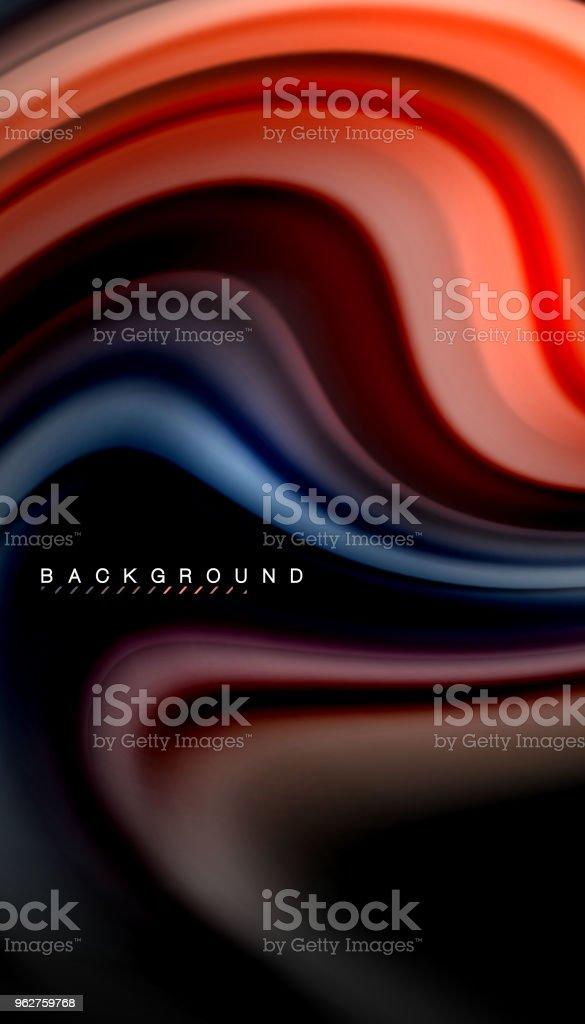 Abstrato onda linhas fluido arco-íris estilo listras de cor sobre fundo preto - Vetor de Abstrato royalty-free