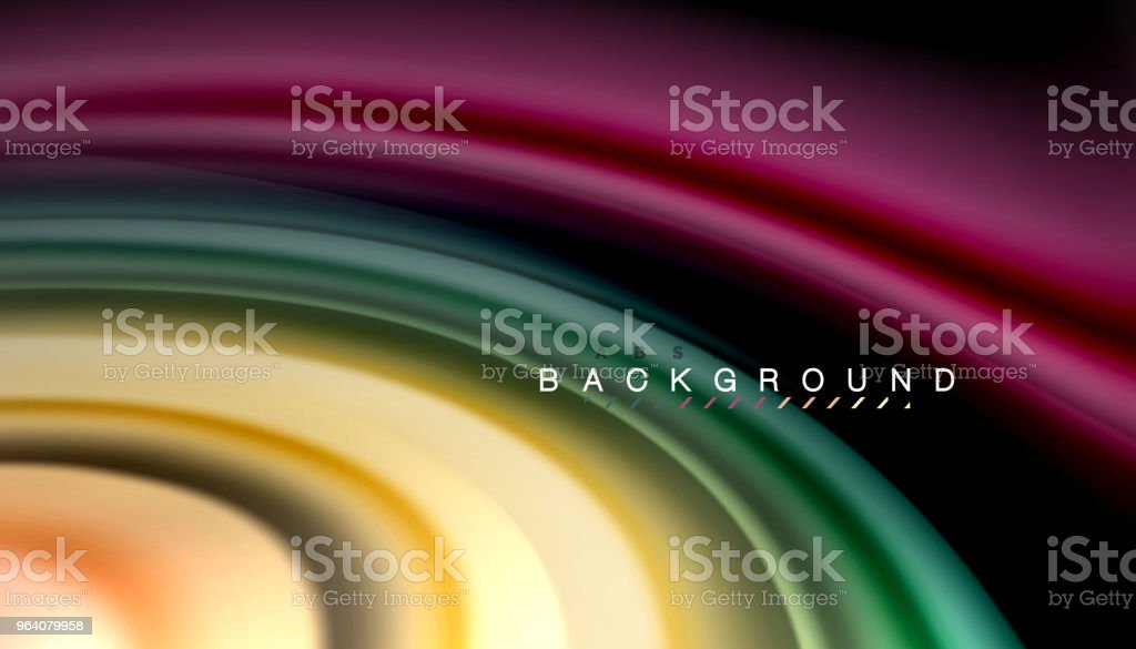 Abstract wave lines fluid rainbow style color stripes on black background - Royalty-free Abstract stock vector