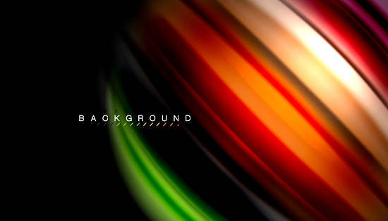Abstract Wave Lines Fluid Rainbow Style Color Stripes On Black Background Stock Illustration - Download Image Now