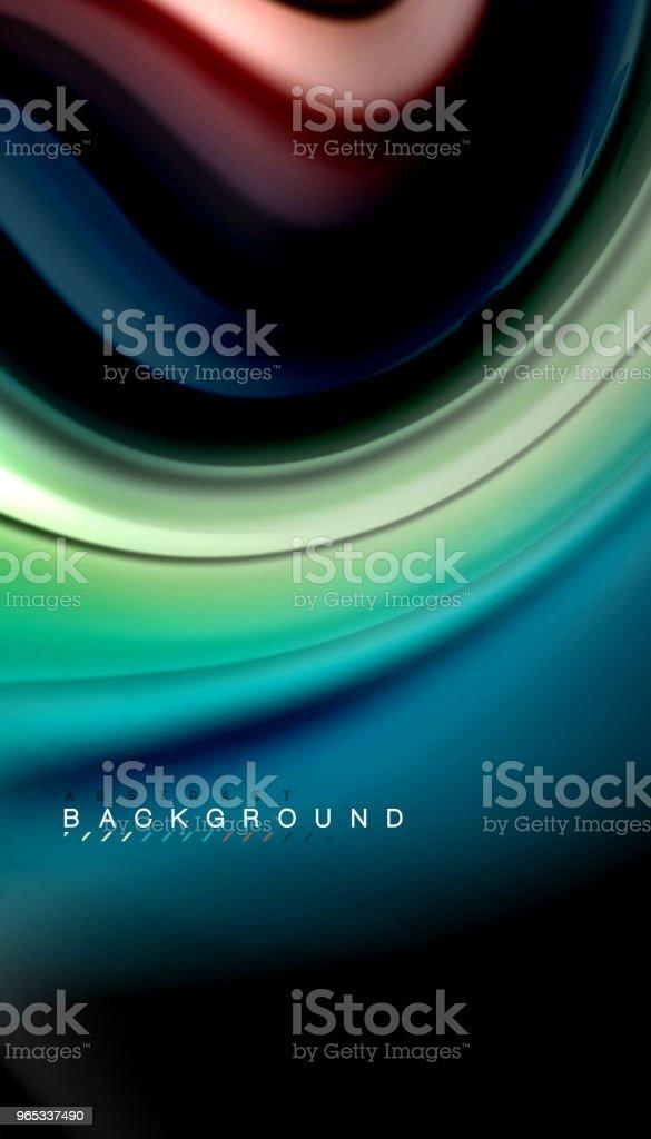 Vague abstrait lignes fluides arc-en-ciel style couleur rayures sur fond noir - clipart vectoriel de Abstrait libre de droits
