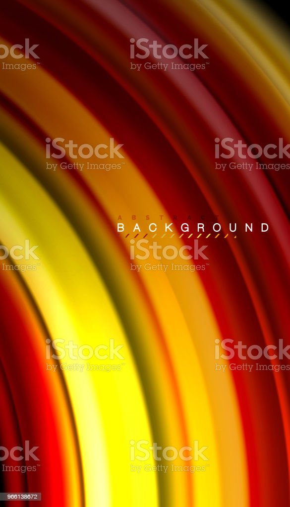Abstract wave lines fluid rainbow style color stripes on black background - Royalty-free Abstrato arte vetorial