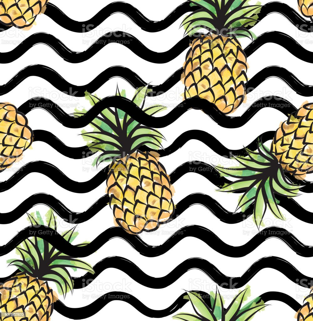 abstract wave seamless pattern with pineapple stylish geometric vector id957562920