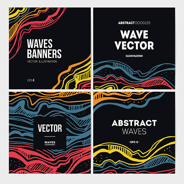 Abstract waves banner collection. Vector illustration EPS 8 funky stock illustrations
