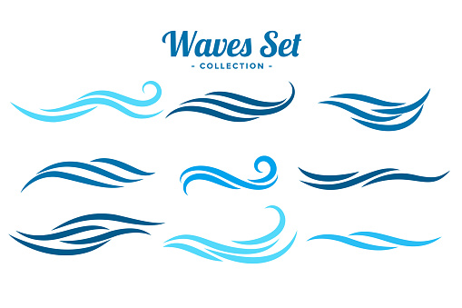 abstract waves logo concept set of nine