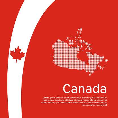 Abstract waving flag mosaic map of canada. Creative background in canada flag colors for holiday card design. National Poster. State canadian patriotic cover, business booklet. Vector flat design