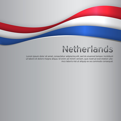 Abstract waving flag of netherlands. Paper cut style. Creative metal background for patriotic holiday card design. National Poster. Cover, banner in state colors of the Netherlands. Vector tricolor design