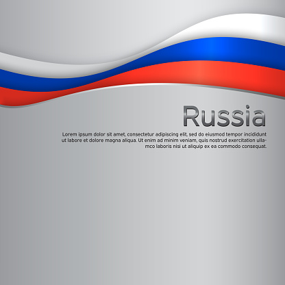 Abstract waving flag of russia. Paper cut style. Creative metal background for design of patriotic holiday card. National poster. State russian patriotic cover, flyer. Vector tricolor design