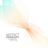 Abstract waving veil of delicate orange, turquoise tones. Vector elegant light wavy pattern. Soft gradient. Line art design element. Layout for invitations, posters, leaflets, flyers, portfolio, brochures. EPS10