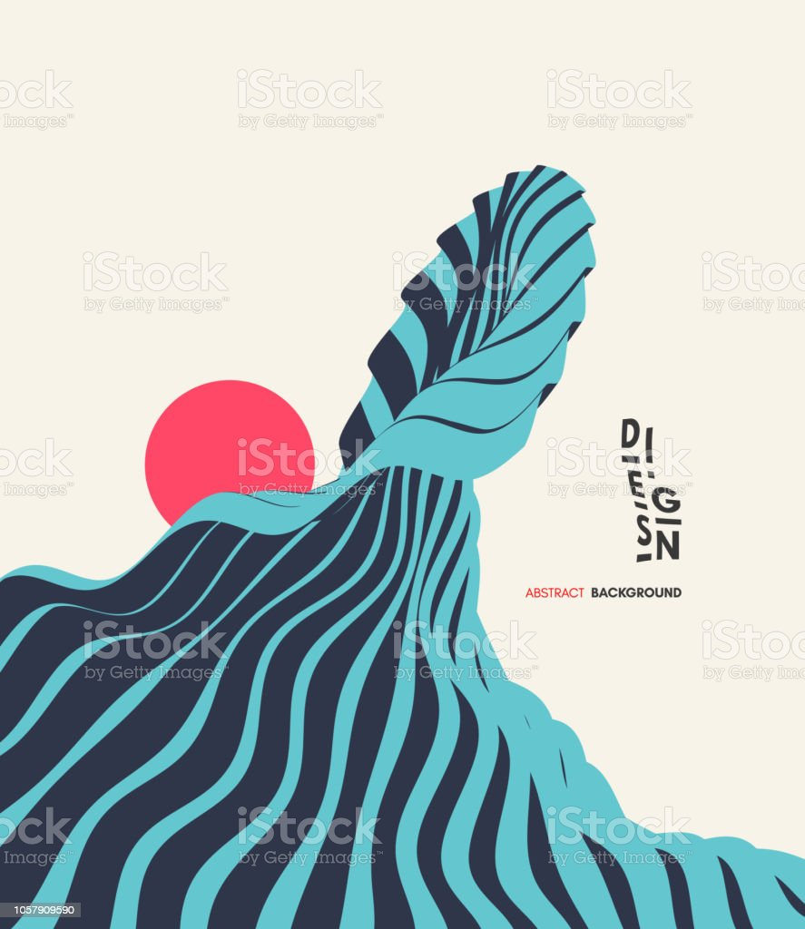 abstract wavy background asian illustration of ocean waves and sun