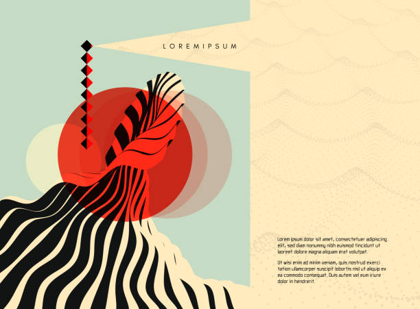 Abstract wavy background. Cover design template. Lighthouse on the sea. Beacon in ocean. 3d vector illustration for brochure, magazine, poster, presentation, flyer or banner. vector art illustration