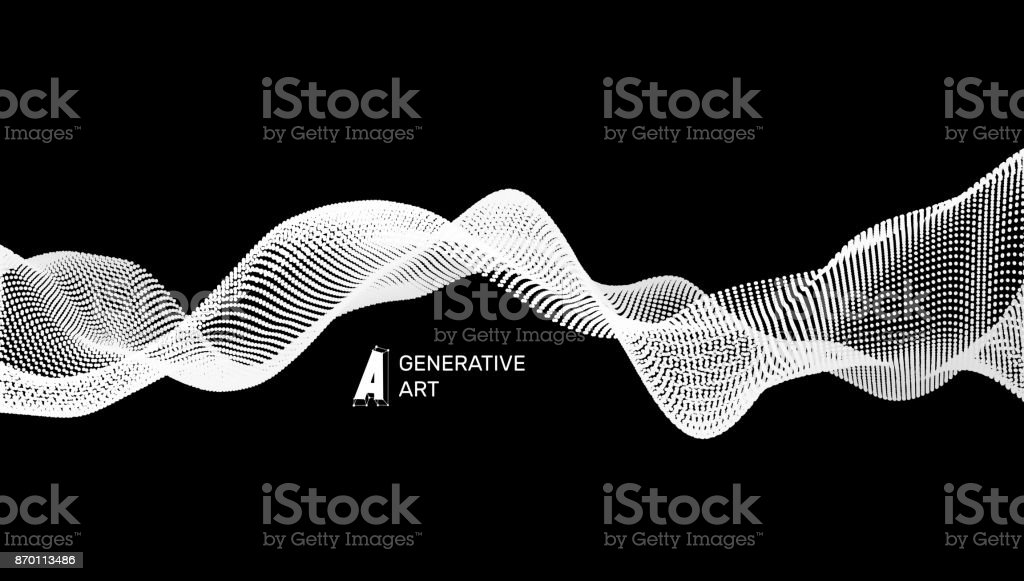 Abstract wavy background for banner, flyer, book cover, poster. Dynamic effect. 3d perspective grid. Vector illustration with dots. Network design with particle. vector art illustration