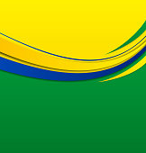 Illustration abstract wavy background in Brazilian colors - vector