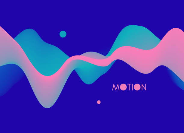 Abstract wavy background with modern gradient colors. Trendy liquid design. Motion sound wave. Vector illustration for banners, flyers and presentation. vector art illustration