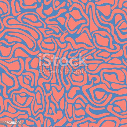 Abstract wavy curved shapes. Geometric seamless pattern. Natural organic forms rounded objects seamless pattern.