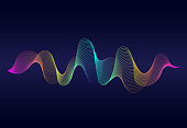 Abstract  wavy lines surface with rainbow color on dark blue background. Soundwave of gradient lines. Modern digital frequency  equalizer on abstract background.