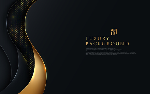 Abstract wavy overlapping on black background with glitter and golden lines glowing dots golden combinations. Luxury and elegant design. Vector illustration