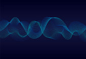 Abstract wavy particles surface on dark blue background. Soundwave of particles. Music abstract background with 3d grid.