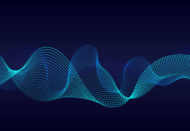 濃い青色の背景に抽象的な波状のパーティクルサーフェス。グラデーションラインのサウンドウェーブ。抽象的な背景に現代のデジタル周波数イコライザー。ベクトル eps10 - 音響点のイラスト素材/クリップアート素材/マンガ素材/アイコン素材