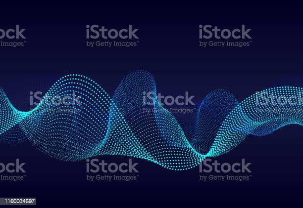 濃い青色の背景に抽象的な波状のパーティクルサーフェスグラデーションラインのサウンドウェーブ抽象的な背景に現代のデジタル周波数イコライザーベクトル Eps10 - 3Dのベクターアート素材や画像を多数ご用意