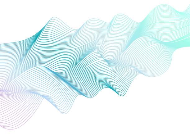 Resumen patrón de rayas ondulada sobre fondo blanco. Onda color aguamarina ligera de vector. Elemento de diseño de arte de línea. Que ondas brillantes, cinta imitación elegante. Ilustración EPS10 - ilustración de arte vectorial