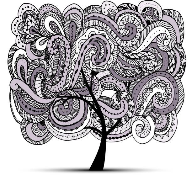 abstrakte wellenförmige baum für ihr design - stammes tattoos stock-grafiken, -clipart, -cartoons und -symbole