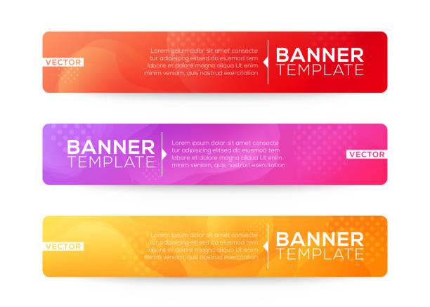 stockillustraties, clipart, cartoons en iconen met abstract web banner ontwerp achtergrond of header templates. vloeiende gradiënt vormen compositie met kleurrijke felle kleuren - kop